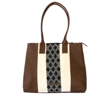 Leather bag, camel color, black and white loom insert
