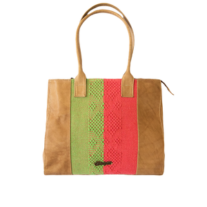 Leather bag, camel color, mint and coral loom insert.