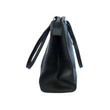 black leather bag, side view
