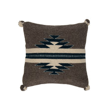 southwestern wool pillow made on loom, gray, white and blue geometric design