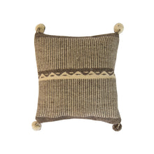 Mexican loom, wool pillow, beige and white