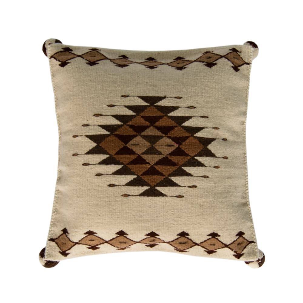 Geometric wool pillow made on loom from Oaxaca, Mexico