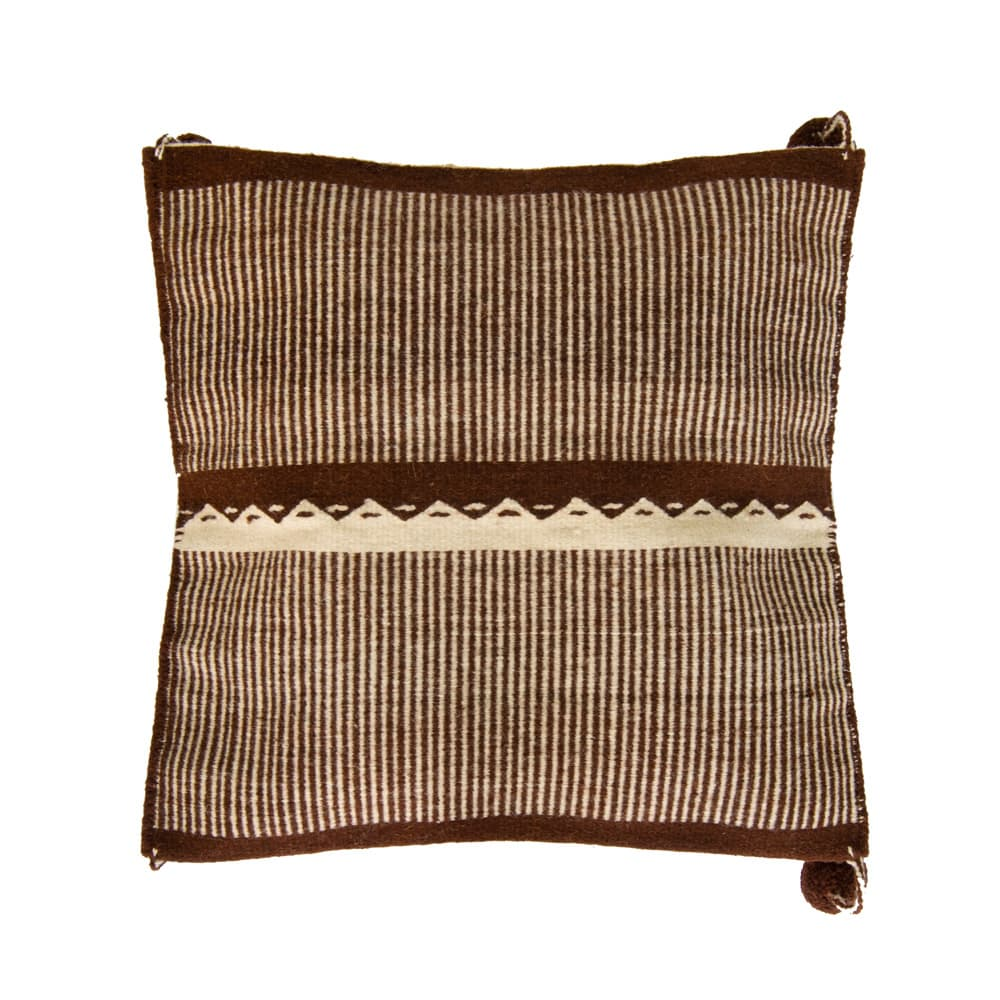 Wool decorative pillow made on loom, brown and white