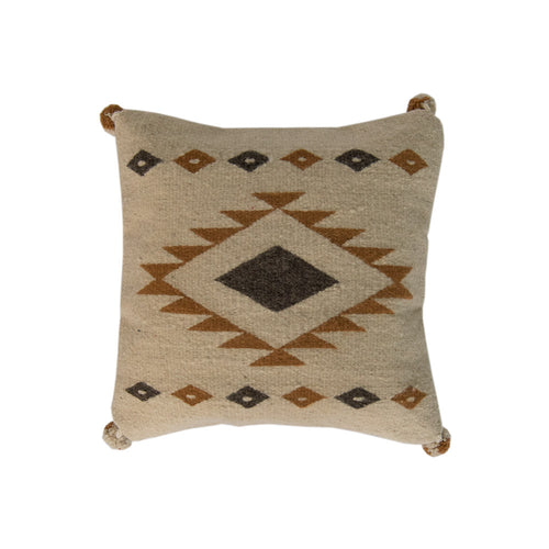 white pillow cover with brown diamond
