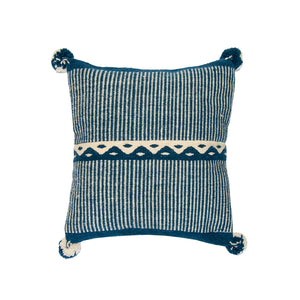 Folk Home Decor, Blue Carpet Pillow Cover