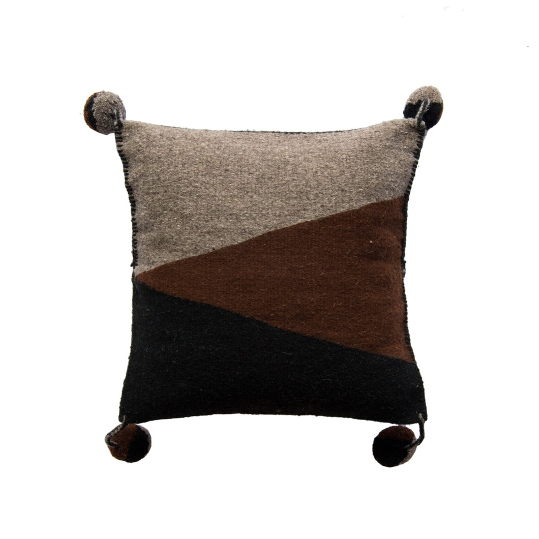 color block handmade Oaxaca triangles wool pillow