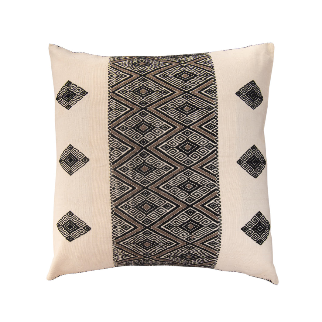 Fine loom Mexican accent pillow, black and white with geometric pattern