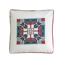 cross stitch folk Mexican inspired geometrical embroidery pillow