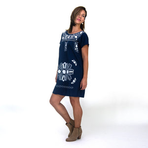 Mexican embroidered dress, navy blue fabric, white flower embroidery