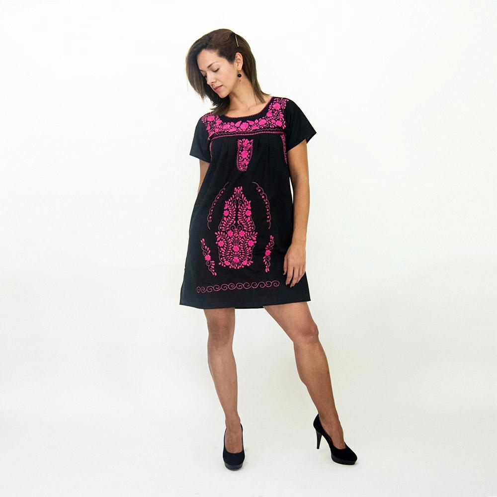 Mexican embroidered dress, black fabric, pink flower embroidery, modeled