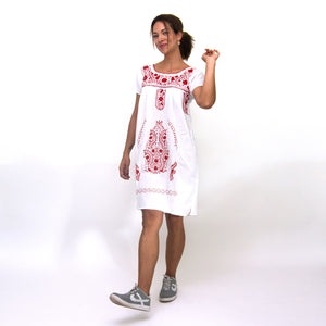 Mexican embroidered dress white fabric, red flower embroidery, modeled