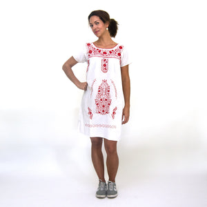 Mexican embroidered dress, white fabric, red flower embroidery, modeled