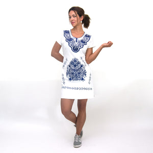 Mexican white dress, blue flower embroidery