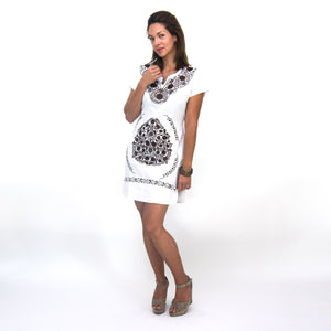 Mexican white dress, brown flower embroidery