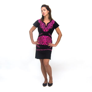 Mexican embroidered black dress, pink flower embroidery, modeled