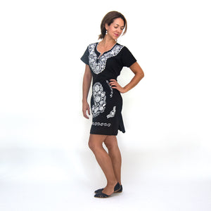 Black and white Mexican dress, modeled