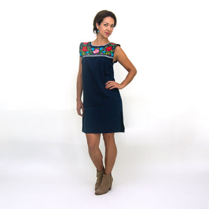 Navy blue Mexican dress, multicolor embroidery modeled