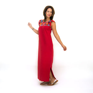 Mexican long red dress, multicolor floral embroidery, modeled