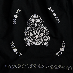Black and white embroidery from Mexican dress