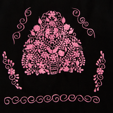 Mexican flower pink embroidery from black dress