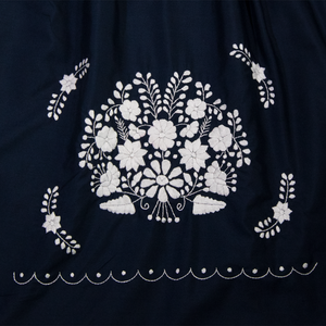 Mexican flower embroidery from navy blue dress