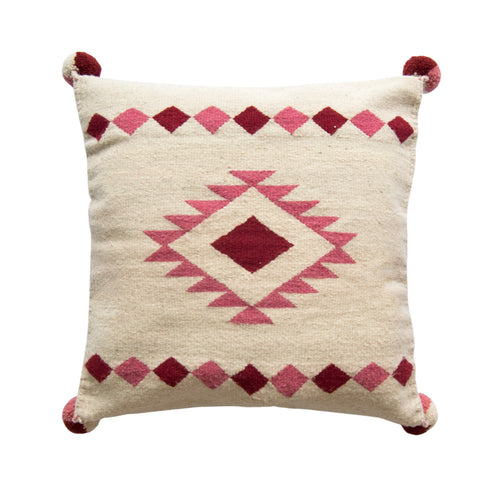 Frame Diamond Wool Pillow Cover on Pink