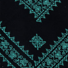 Mexican Black Cape with Geometric Embroidery in Turquoise.