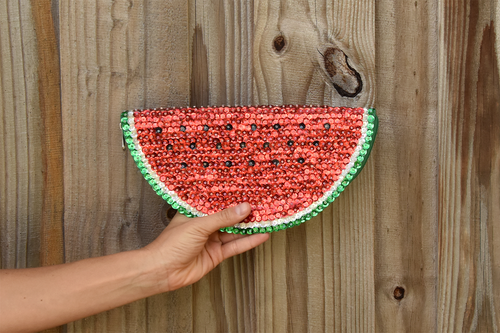 Palm leaf pouch embroidered with sequin, watermelon shape