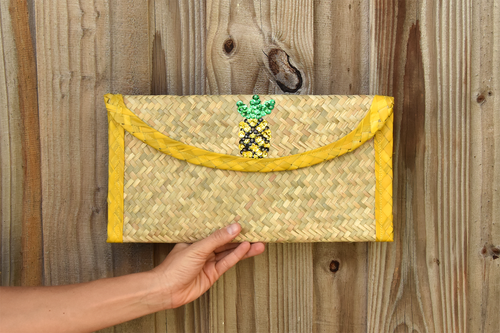 palm woven clutch bag embroidered with sequin, pineapple, yellow trim