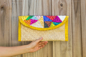 Palm woven clutch bag embroidered with sequin, triangles, yellow trim