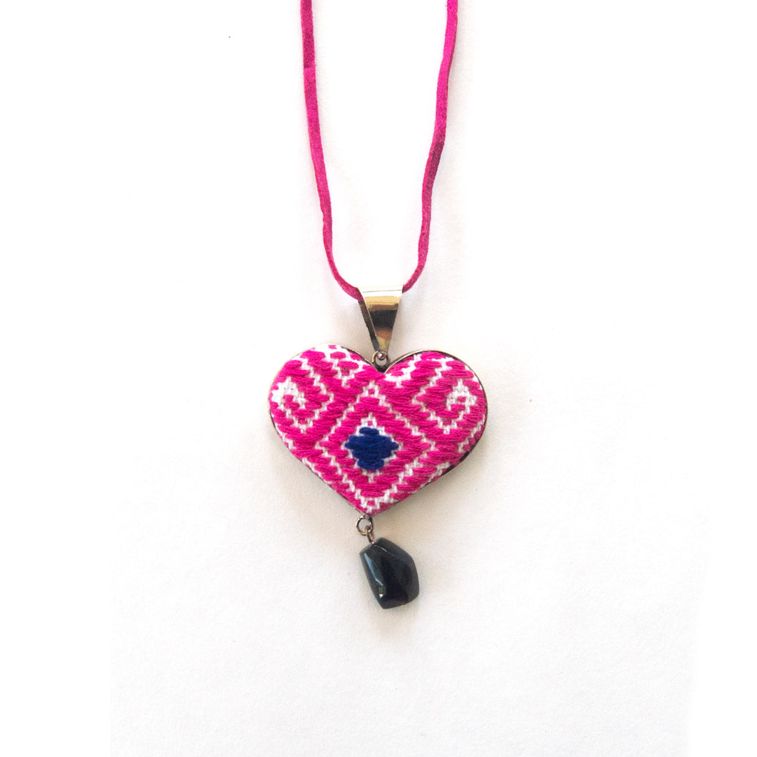 Pink heart pendant  handmade embroidery