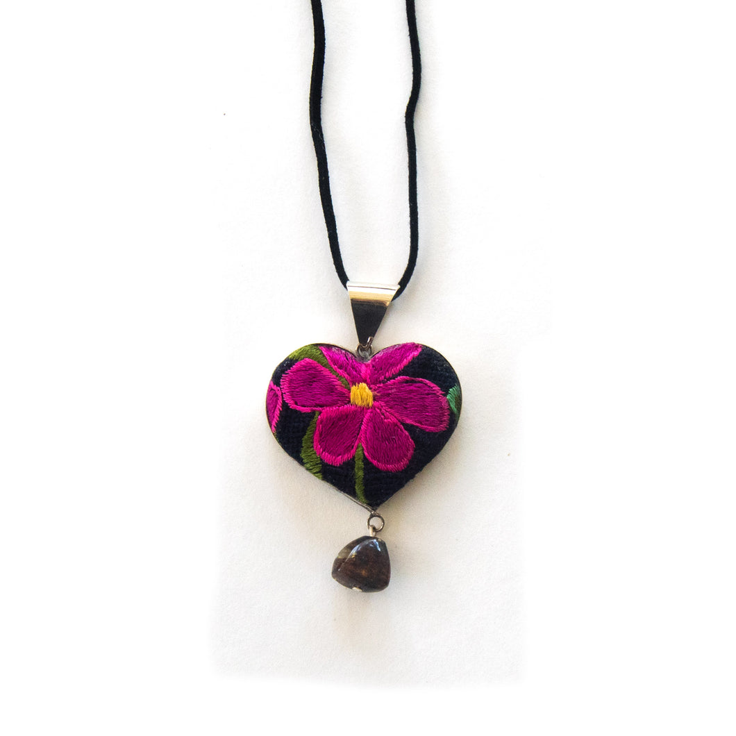 Floral Heart Pendant With Hanging Stone