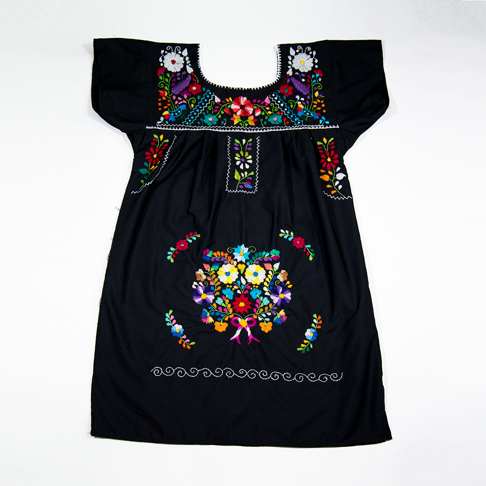 Black dress hand embroidered