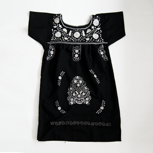 black and white embroidered Mexican dress