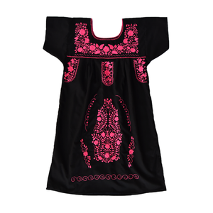 Mexican embroidered dress, black fabric, pink flower embroidery