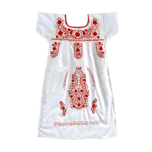Mexican embroidered dress, white fabric, red flower embroidery