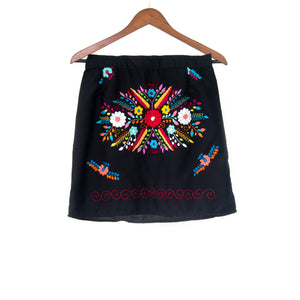 Mexican Embroidered Mini Skirt