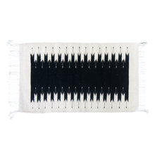 Black and white Mexican wool rug