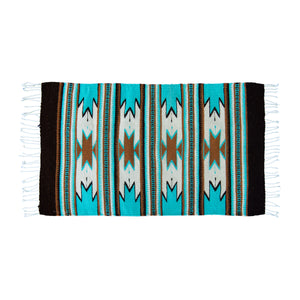 Wool Mexican Aztec Small Rug Turquoise and Brown