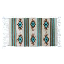 Aztec wool small rug with fringes