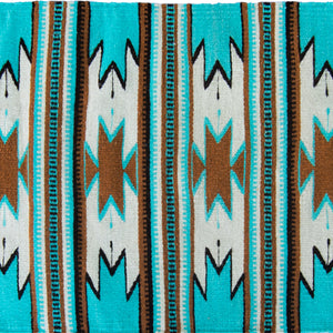 Wool Mexican Aztec Small Rug Turquoise and Brown Closeup