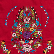 Mexican red dress with colorful flower embroidery