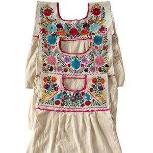 White loose Mexican dresses, multicolor flower embroidery