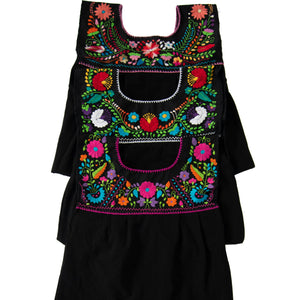 Mexican black dresses, multicolor floral embroidery
