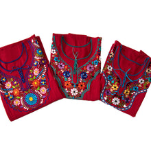 Mexican red dresses with colorful flower embroidery