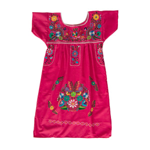 Pink and multicolor Mexican embroidered dress