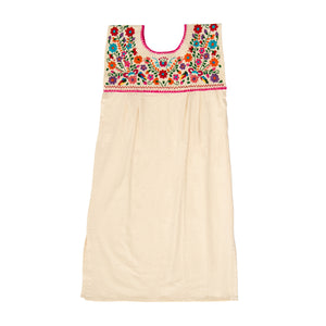 White loose Mexican dress, multicolor flower embroidery