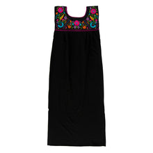 Mexican long black dress, multicolor floral embroidery