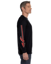 Load image into Gallery viewer, Item CHS-WIDE-521-1-Black - Jerzees Adult 5.6 oz. DRI-POWER ACTIVE Long-Sleeve T-Shirt - Fear of the Spear Logo