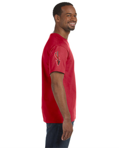 Item CHS-WIDE-522-1-Red - Jerzees 5.6 oz. DRI-POWER Short Sleeve T-Shirt - Fear of the Spear Logo